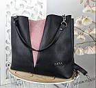 Женская сумка черного цвета, структурная эко-кожа+натуральный замш (под бренд), фото 2