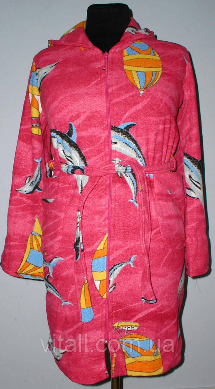 """Халат махровый короткий с капюшоном на замке""""дельфин""""бордовый"""