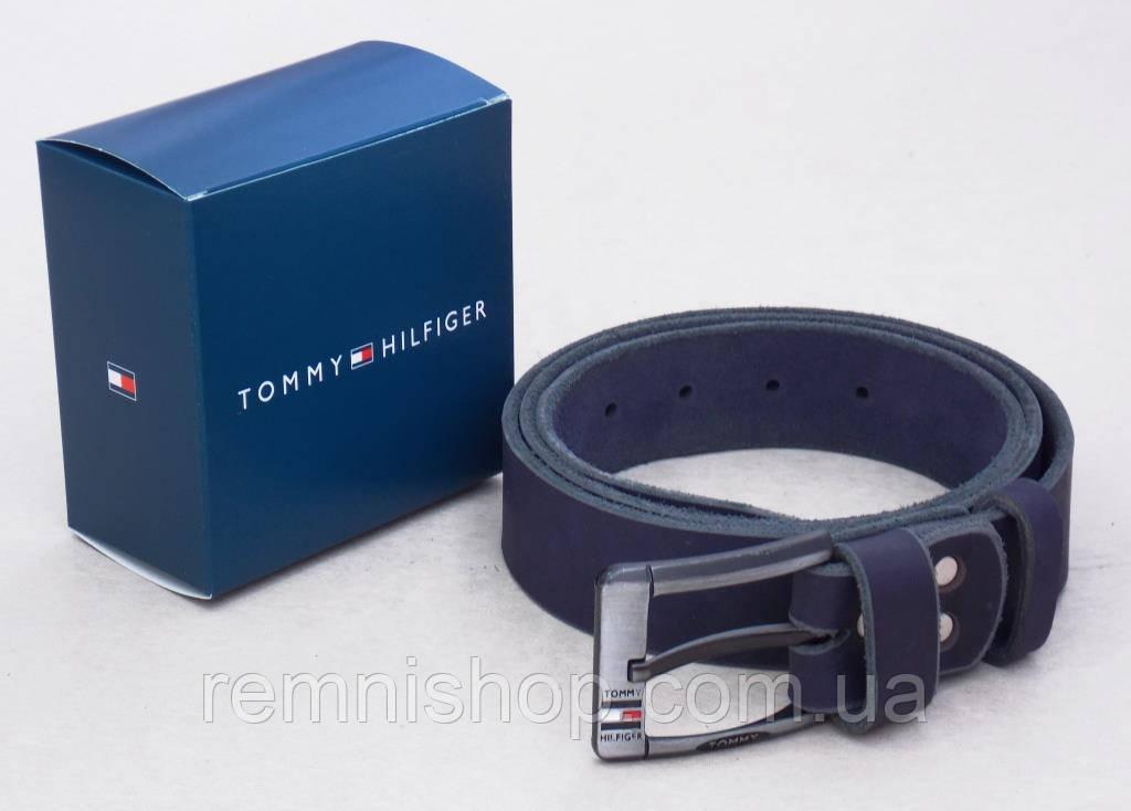 Кожаный синий мужской ремень Томму