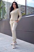 Вязаный спортивный костюм женский шерсть 50%, молоко