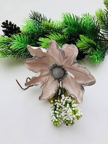 Пуансеттия для декора пудровая., фото 2