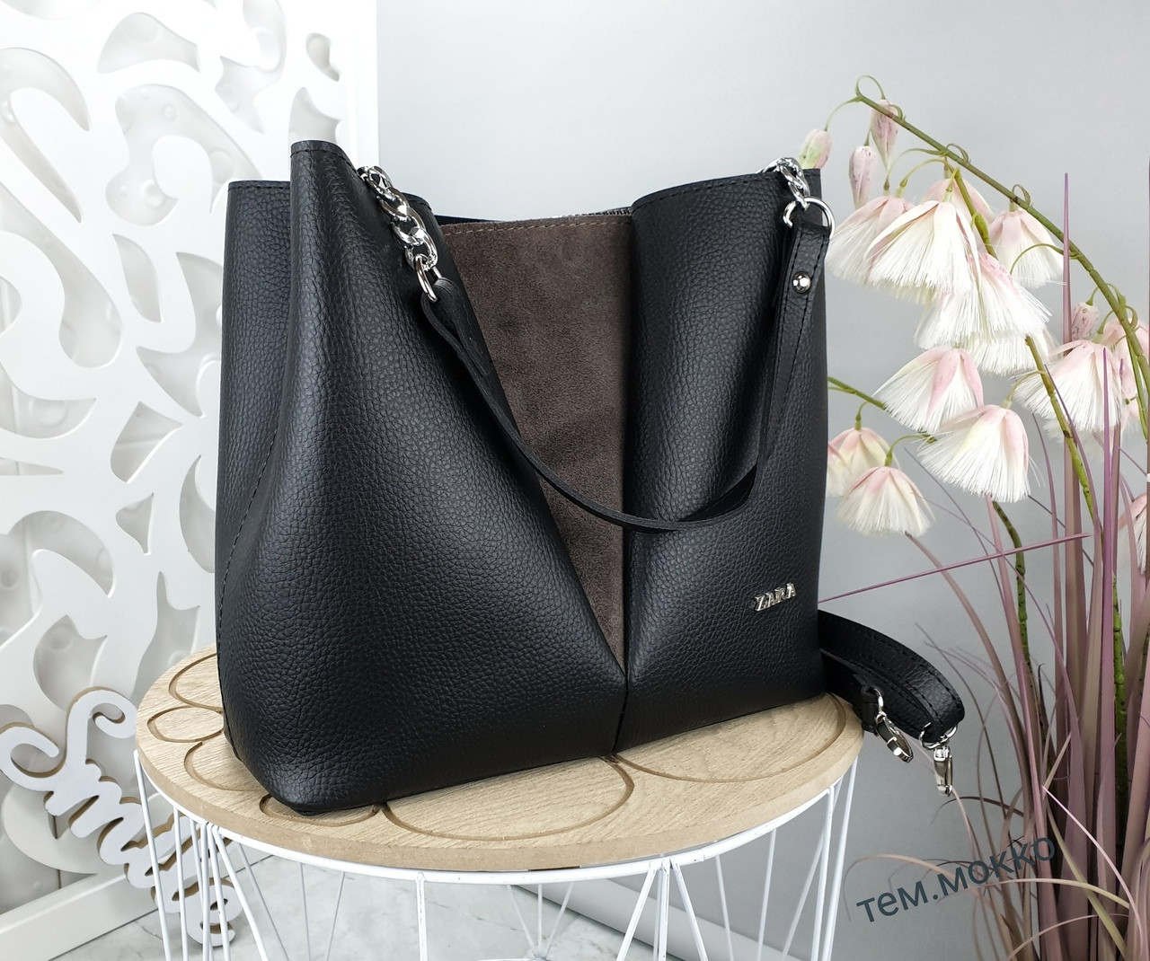Женская сумка черного цвета, структурная эко-кожа+натуральный замш (под бренд)