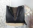 Женская сумка черного цвета, структурная эко-кожа+натуральный замш (под бренд), фото 4