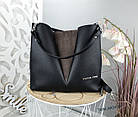Женская сумка черного цвета, структурная эко-кожа+натуральный замш (под бренд), фото 5