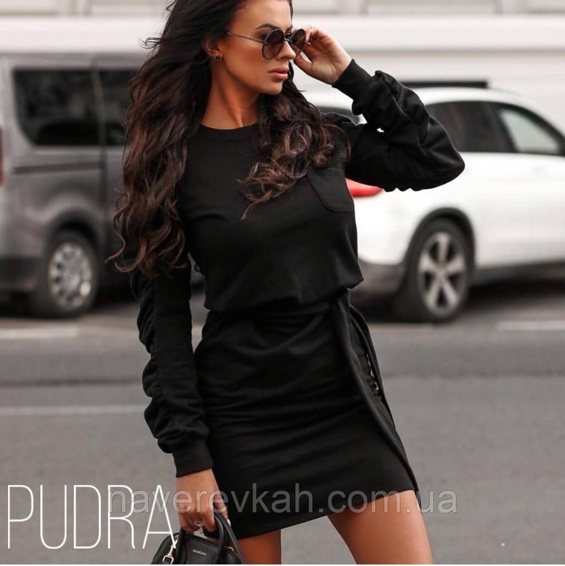 Женское платье трикотаж хаки черное 42-44 44-46