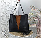 Женская сумка черного цвета, структурная эко-кожа+натуральный замш (под бренд), фото 3
