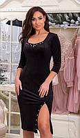 Елегантне плаття, глибокий фігурний виріз , Розріз і виріз декорований набивним перлами (50-64), фото 1