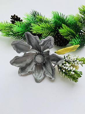 Пуансеттия для декора ( серебро), фото 2