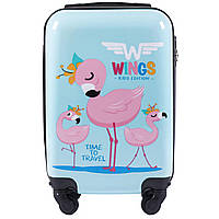 Детский чемодан на колесиках WINGS JAY Размер XS Голубой с фламинго