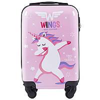 Детский чемодан на колесиках WINGS JAY Размер XS Розовый