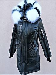 Лаковое зимнее пальто для девочки