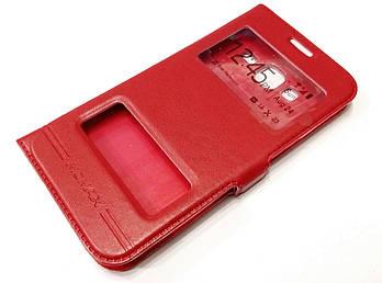 Чехол книжка с окошками momax для Samsung Galaxy J3 j300h (2015) красный