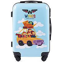 Детский чемодан на колесиках WINGS JAY Размер S Голубой