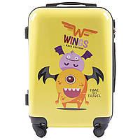 Детский чемодан на колесиках WINGS JAY Размер S Желтый