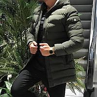Мужская куртка зимняя теплая с капюшоном хаки