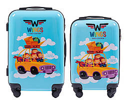 Набор 2 Детских чемодана на колесиках WINGS JAY Голубой