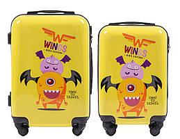 Набор 2 Детских чемодана на колесиках WINGS JAY Желтый