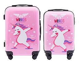 Набор 2 Детских чемодана на колесиках WINGS JAY Розовый