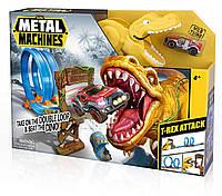 ZURU Трек Подвійна Петля Metal Machines T-Rex Attack Playset Пускач - трамплін - одна машинка B07CJQ1FPM