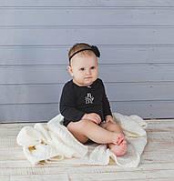 Білий в'язаний теплий плед для малюків