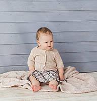 Пудровий в'язаний теплий плед для малюків