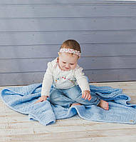 Блакитний в'язаний теплий плед для малюків