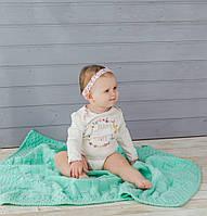 М'ятний в'язаний теплий плед для малюків