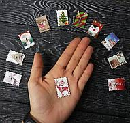 Дерев'яна ґудзик 11 видів, Новорічна Марка для скрапбукінгу, рукоділля та ін. 3,4х2,3 см - 1 шт