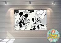 """Плакат - Розмальовка 120х75 """"Міккі і Мінні Маус"""""""