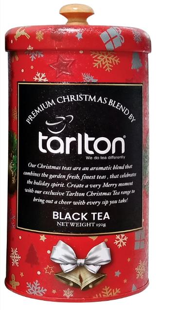 Чай подарунковий Тарлтон Червоний оксамит чорний з шматочками полуниці 150 г в жерстяній банці