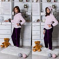 Модный стильный махровый домашний детский костюм (подростковая махровая пижама) с ушками на капюшоне. Арт-4827, фото 1