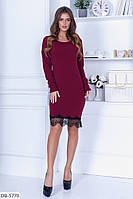 Приталенное красивое платье ангора с кружевом арт 1252
