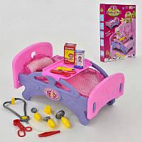 Игровой набор Медицинская кроватка для кукол с аксессуарами 661-15 Розовый с фиолетовым (2-66115-63313)