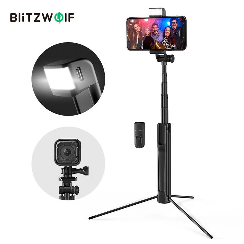 Селфи палка беспроводной монопод-штатив с светодиодной подсветкой BlitzWolf BW-BS8 для смартфонов (Черная)