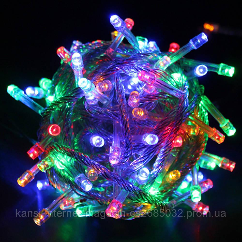 Гирлянда Xmas Led 100 мультицветная, светодиодная разноцветная гирлянда