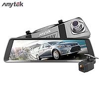 Авторегистратор зеркало Anytek T90 зеркало 9.88 экран двойной объектив регистратор, камера заднего вида