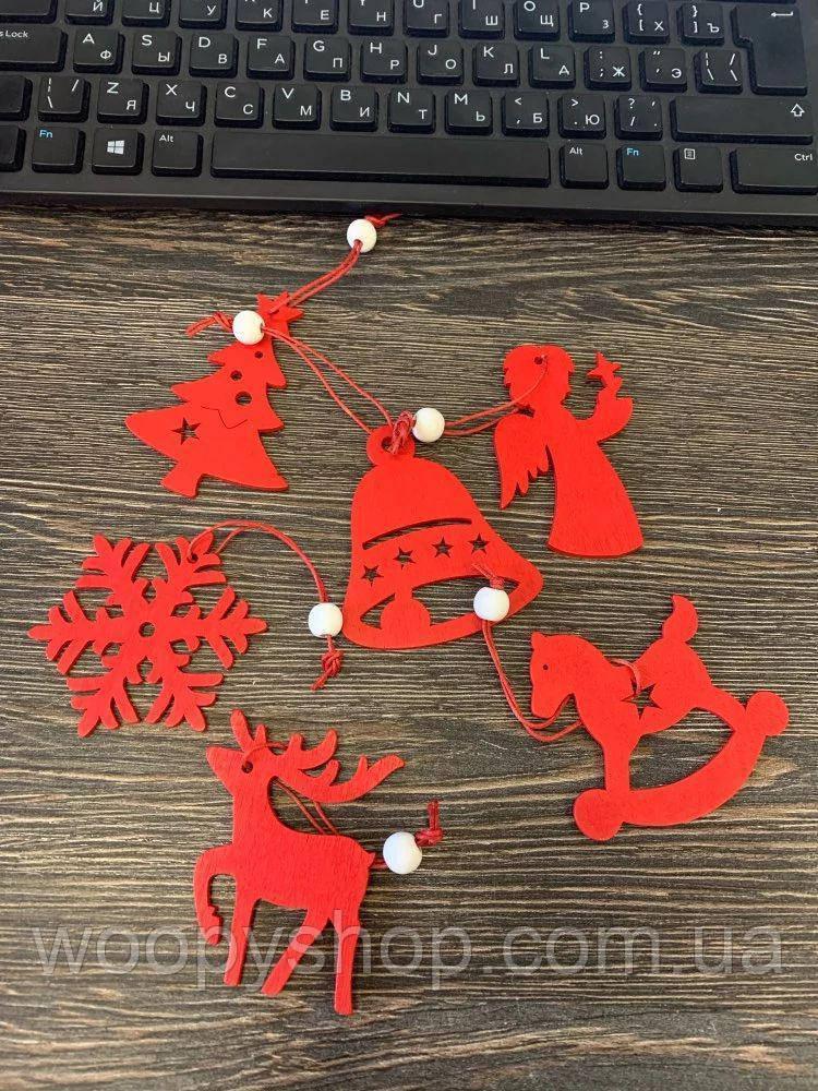 """Игрушка украшение новогоднее деревянные на ёлку 6шт/набор """"Красный микс"""""""