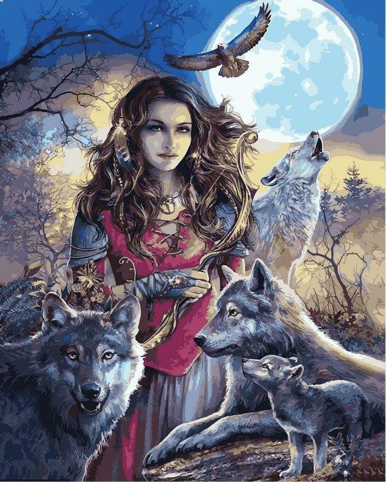 Картина по номерам Волки и девушка Покровительница волков 40х50см Babylon Turbo
