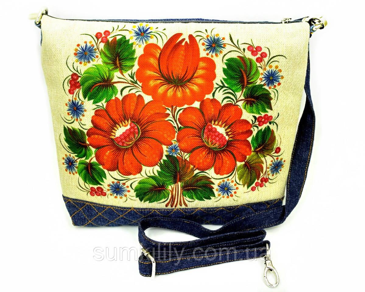 Джинсовая стеганная сумочка МАКИ