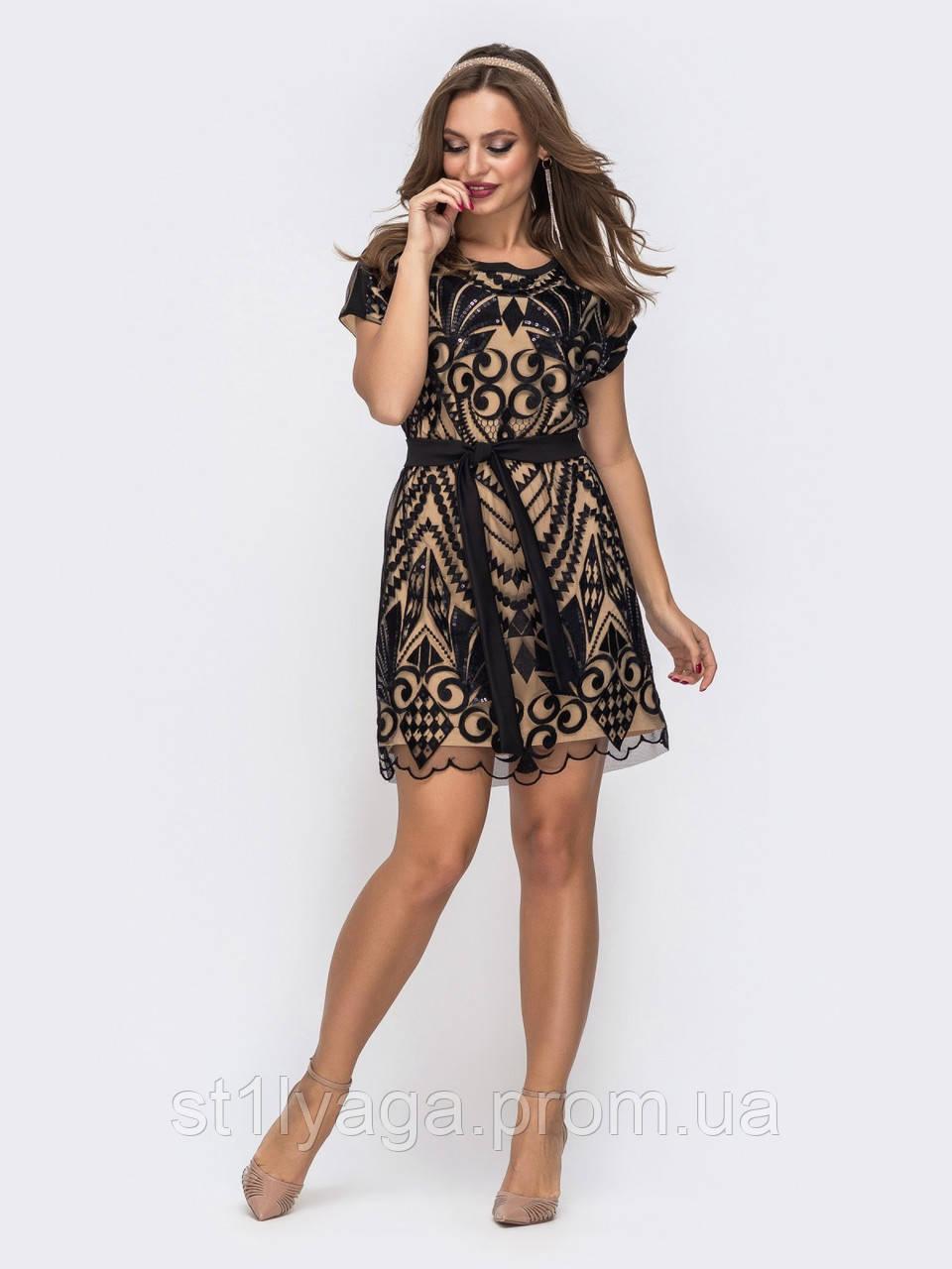 Вечернее  платье мини из трикотажа с узором из пайеток