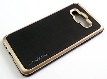 Чехол противоударный Motomo для Samsung Galaxy J5 j510 (2016) черный с золотым