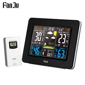 Метеостанція FanJu FJ3365 гігрометр, термометр, барометр з великим дисплеєм і зовнішнім датчиком. Чорний колір
