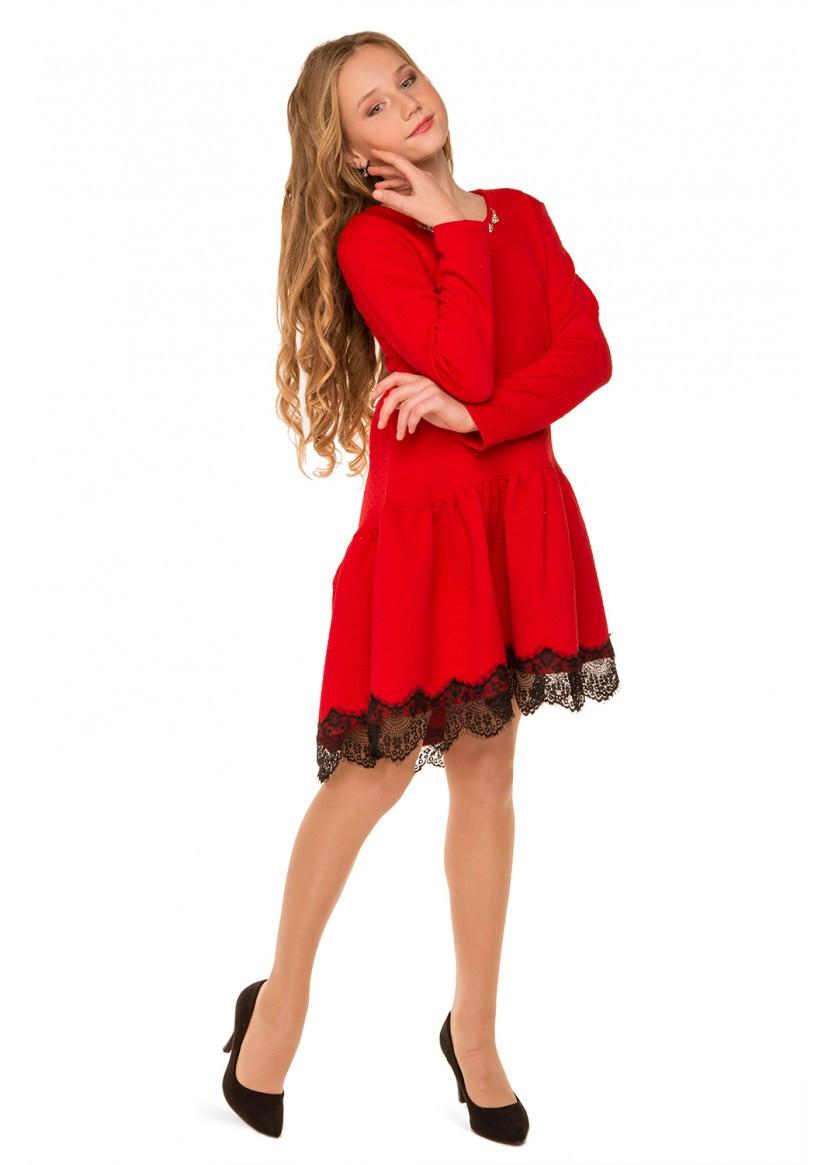 Платье красное праздничное Канкан 134 - 152 см