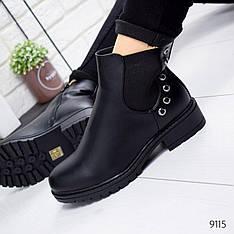 """Ботинки женские зимние, черного цвета из эко кожи """"9115"""". Черевики жіночі. Ботинки теплые"""