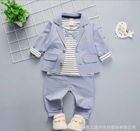 Нарядный костюм тройка на мальчика  джентельмен 3-4 года голубой с бабочкой, фото 2