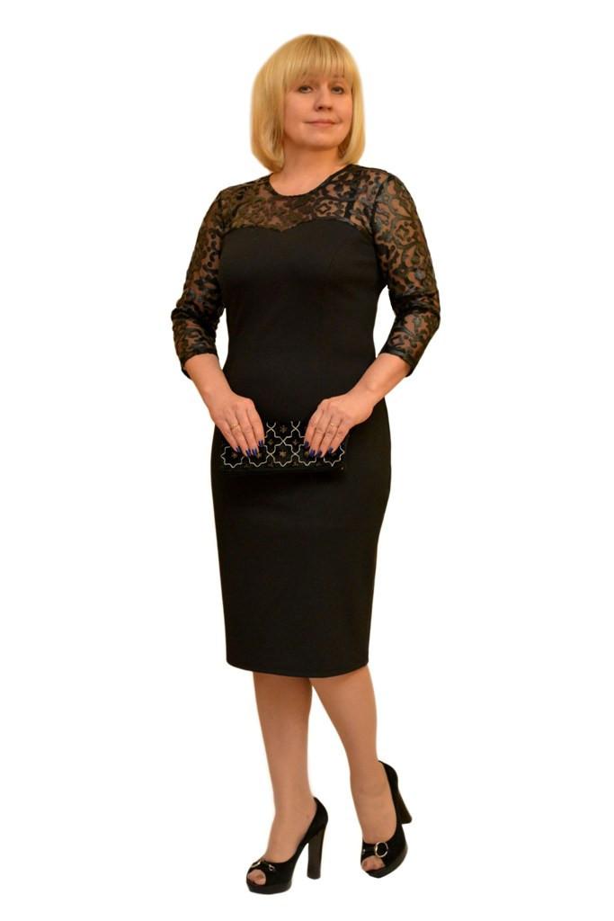 """Платье """"Иллюзия"""" черное - Модель 820-2 ( 54,54 размеры)"""
