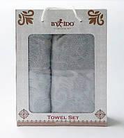 ✅  Набор полотенец из 2 полотенец (для лица 50х90,  банное 70х140) Турция (жаккард) Серый