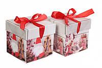 Новогодняя упаковочная коробочка сборная, картон, 10*10 см, 1 шт