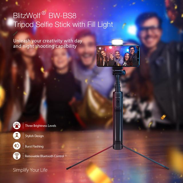 Селфи палка беспроводной монопод-штатив с светодиодной подсветкой BlitzWolf BW-BS8 для смартфонов