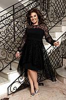 Изысканное вечернее черное платье. Размер:,50-52,54-56,58-60. Ткань:креп-дайвинг+ сетка флок с напылением